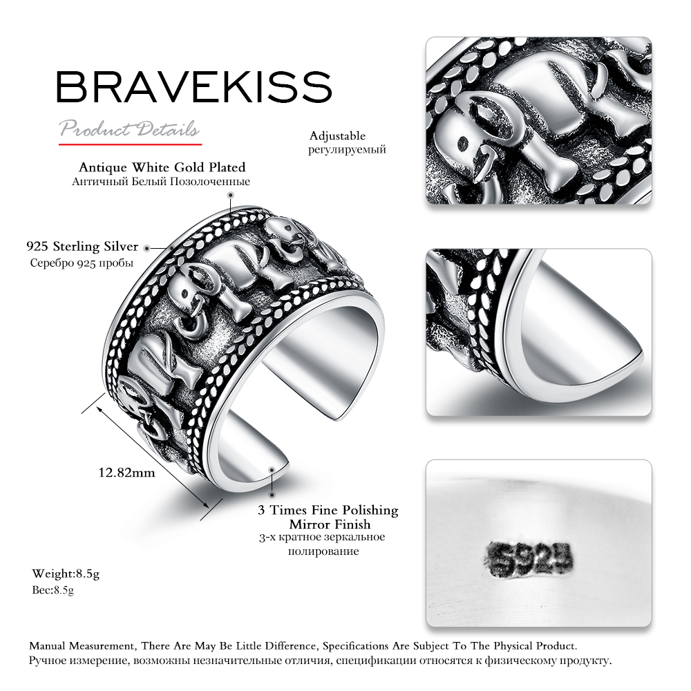 Image 3 - BRAVEKISS  925 Sterling Silver Elephant Ring Animal Antique Open Adjustable Wide Wedding Engraved Ring Jewelry for Woman BLR0309-in Wedding Bands from Jewelry & Accessories