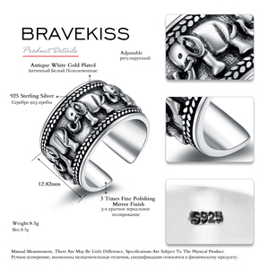 Image 3 - BRAVEKISS 925 Sterling Silver Elephant Ring Animal Antique Open Adjustable Wide Wedding Engraved Ring Jewelry for Woman BLR0309