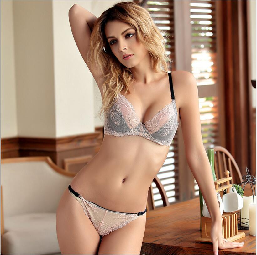 d2f3b6ffd5787 HOT 2017 Ultra thin sexy cutout lace bra set push up thin breathable  underwear plus size temptation transparent bra set -in Bra   Brief Sets  from Underwear ...