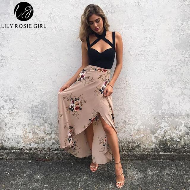 Lily Rosie Girl Floral Print Long Skirts Women Summer Elegant Beach Maxi Skirt Boho Style High Waist Asymmetrical