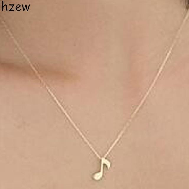 Hzew Unique Design Music Note Symbol Necklace Delicate Goldsilver