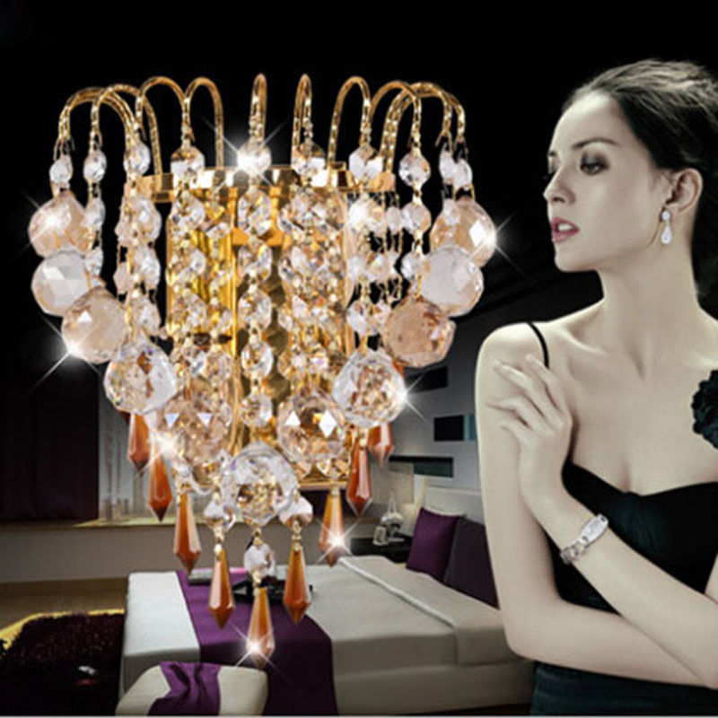 New Design Luxurious Gold K9 Crystal Led Wall sconces Light E14 Led Candle Light Bedroom Wall Lamp Decoration Light good quality crystal led wall light lustres diamond crystal wall sconces light led bedroom besides lamp used for ceiling or wall