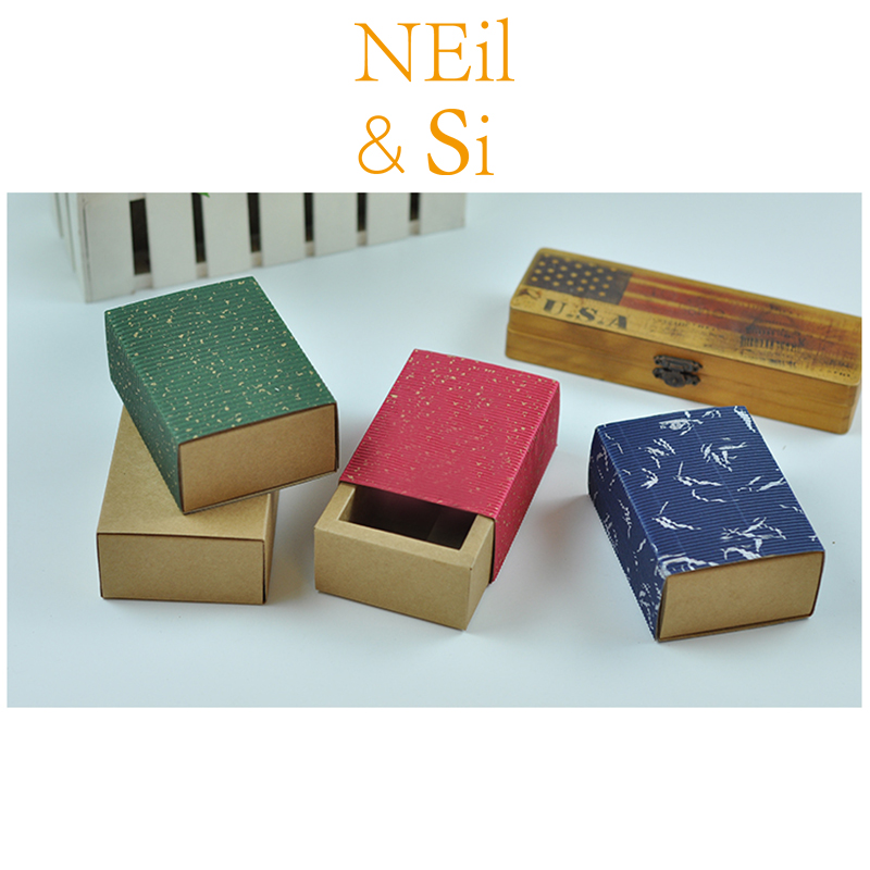 Kraft Drawer Gift Box Handmade Soap Christmas Party Craft Jewel Wedding Candy Packaging Paper Boxes 9*6*4cm Free Shipping