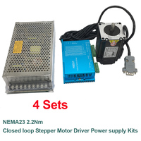 4Pcs NEMA23 57mm 2.2Nm DC24 60V Closed Loop Stepper Motor Drive Encoder 200W Power Supply Easy Servo Kit for Router Printer