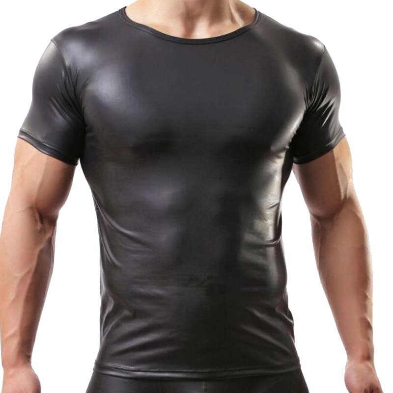 New 2019 Leather T <font><b>Shirts</b></font> <font><b>Men</b></font> <font><b>Sexy</b></font> Fitness Tops <font><b>Gay</b></font> T-<font><b>shirt</b></font> Tees <font><b>Mens</b></font> stage T-<font><b>shirt</b></font> O-Neck <font><b>Sexy</b></font> <font><b>Men</b></font> Casual Clothes image