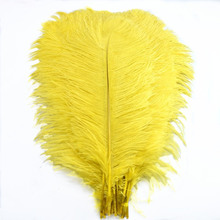 Wholesale 10Pcs/Lot 15-70CM Natural yellow ostrich feathers crafts DIY long Wedding plumes Decorations