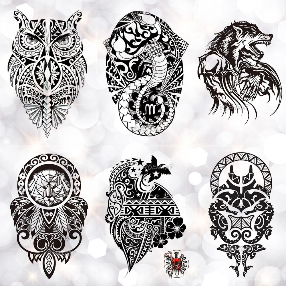 Black Wolf Lion Totem Waterproof Temporary Tattoo Sticker Owl Power Maori Flash Tattoos Body Art Arm Fake Tatoo Men