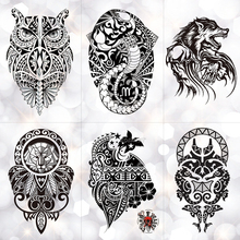 Black Wolf Lion Totem Waterproof Temporary Tattoo Sticker Owl Power Maori Flash Tattoos Body Art Arm Fake Tatoo Men все цены