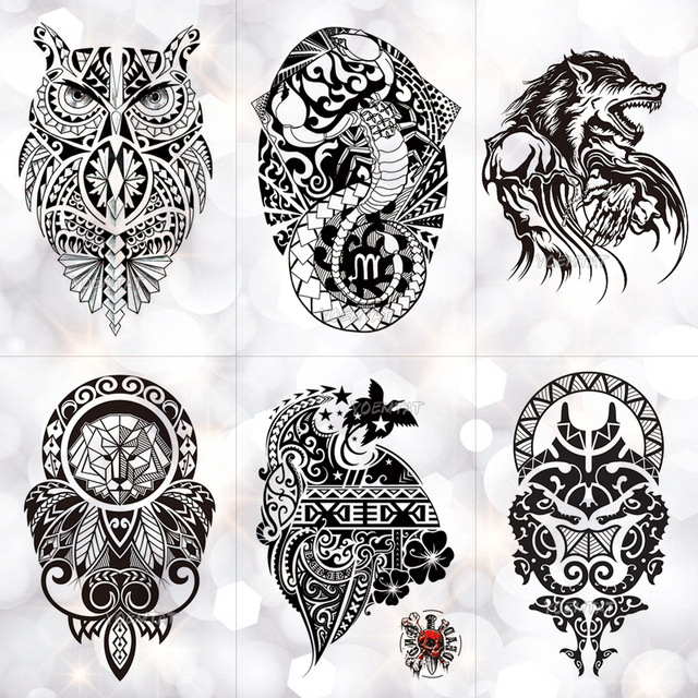 28c496a47bd0a Black Wolf Lion Totem Waterproof Temporary Tattoo Sticker Owl Power Maori  Flash Tattoos Body Art Arm