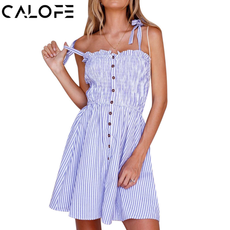 CALOFE Striped Button Sexy Casual Summer Bow Strapless Dress Boho Beach Women Sundress Vestidos Elegant Tunic Mini Dess Female
