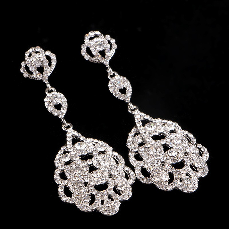 925 sterling silver vintage long earrings for women 585 gold plated Austrian crystal jewelry brincos de festa wedding bridal accessories gifts HB025 (2)