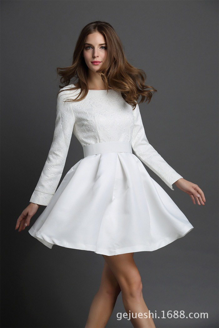 2015 New Style Short Prom Dresses Summer Spring Long Sleeve Bodice ...