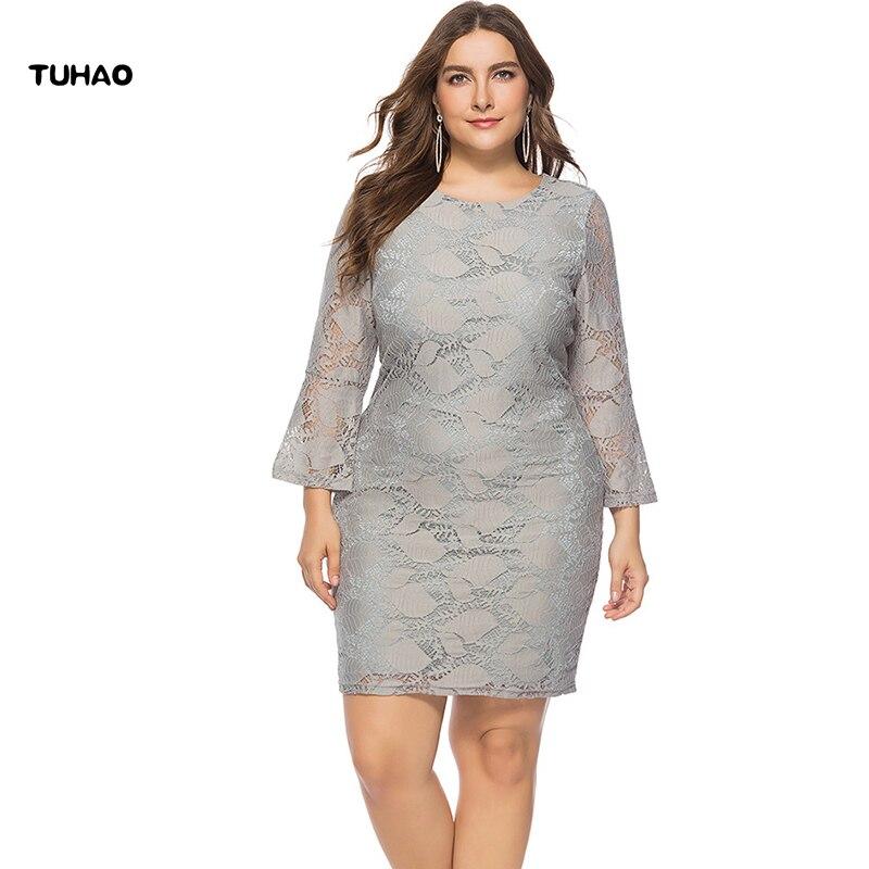Tuhao 2018 Autumn Winter Elegant Grey Lace Dresses Plus Size 5xl 4xl