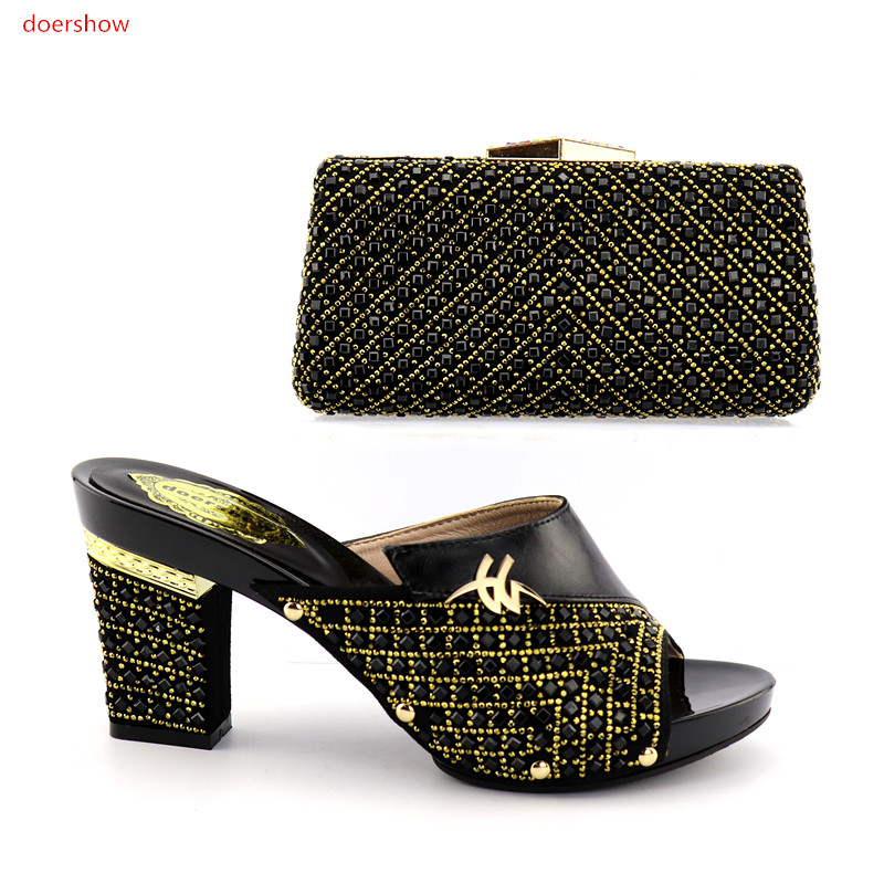 doershow Popular Women Gold Shoes and Bag Set African Shoes and Bag To Match High Quality Nigerian Party Shoes and Bagset FG1-10 doershow high quality italian shoe and bag to match women shoes african party shoes and bag set green with rhinestone kh1 3