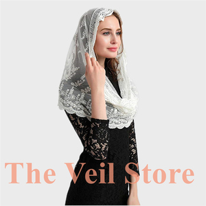 Image 5 - ISHSY Ivory Lace Women Catholic Mantilla Veil for Church Head Cover Latin Mass Velo Mantilla de Novia Negra Chapel infinity veil