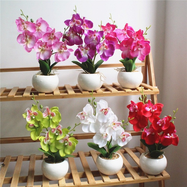US $7 59 5% OFF|1 Set Potted Artificial Orchid Flower+Foam leaf +Plastic  vase Double Forked Simulation Flower Cute Bonsai Home Decor Accessories-in