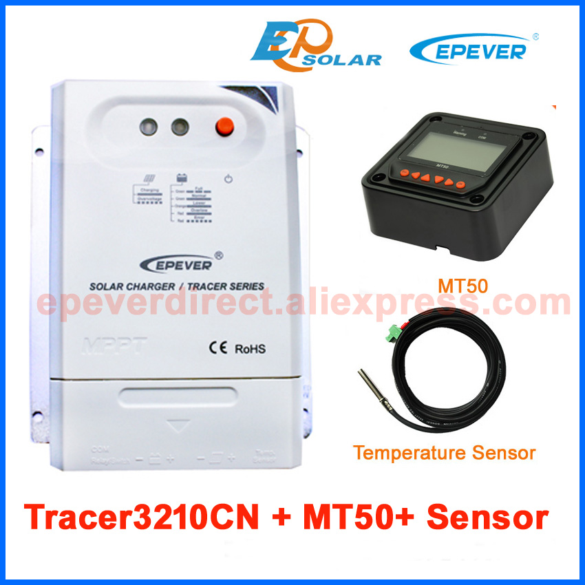 30A 12v 24v auto work solar regulator Tracer3210CN with temperature sensor MT50 meter 30A 30amp EPEVER free shipping mppt solar regulator 30a tracer3210cn with mt 50 remote meter usb and temperature sensor for 12v 24v auto type