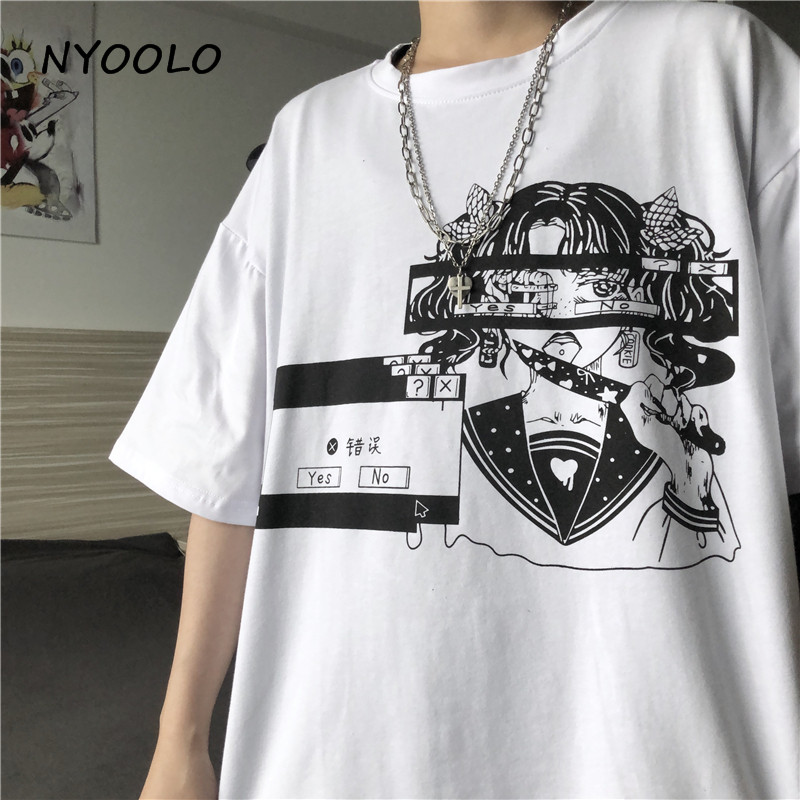 NYOOLO Harajuku Style Vintage Cartoon Girl Letters Print Tee Shirt Summer Streetwear Loose Short Sleeve T-shirt Women Men Top