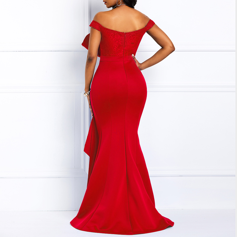 Women Off Shoulder Long Dress Sexy Mermaid Slash Neck Beads Skinny Prom Evening Fashion Plus Size Lace Elegant Party Maxi Dress 18