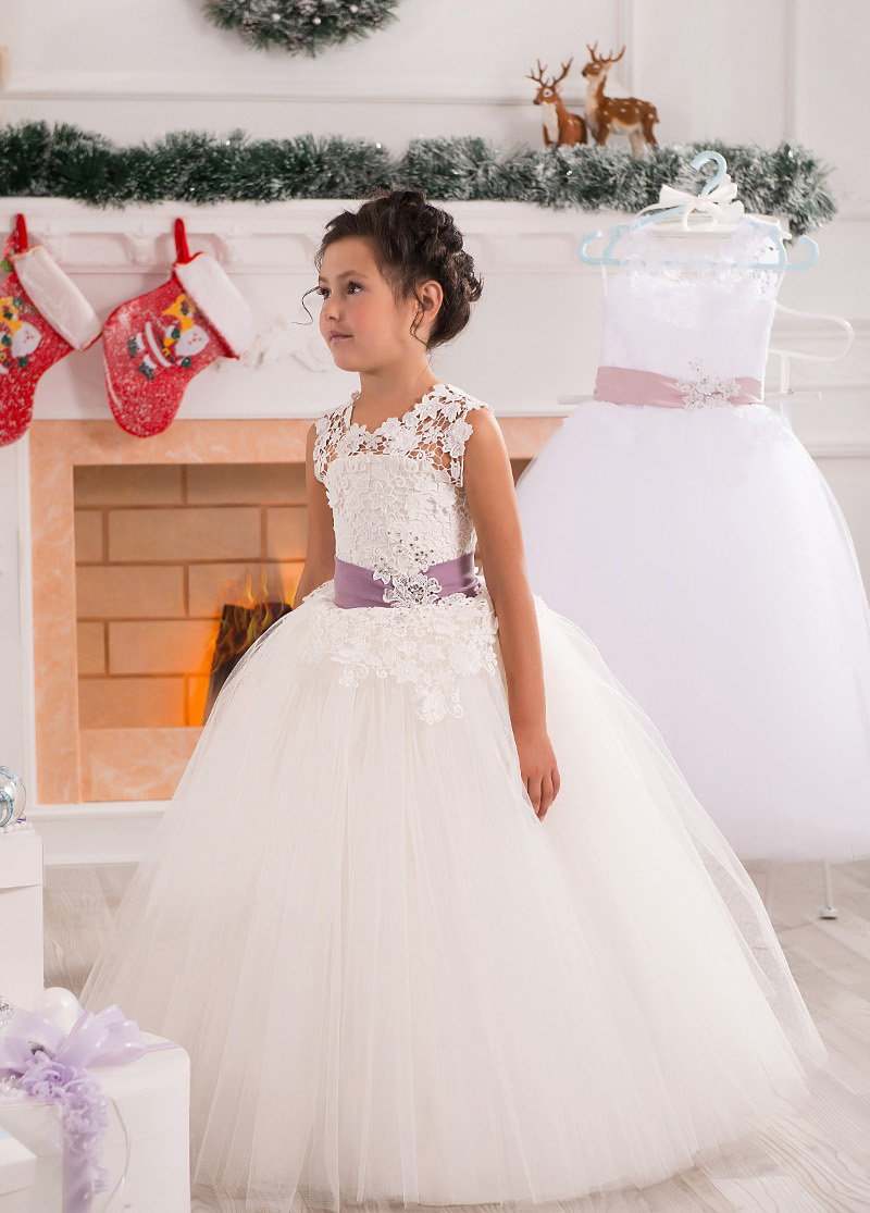 Fashion White Ivory Tulle   Flower     Girls     Dresses   With Bow Belt Sheer Neck   Girls   Summer Lace   Dresses
