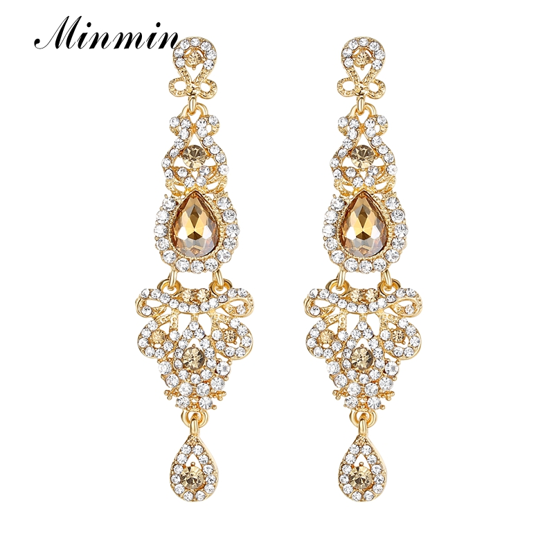 Minmin Champagne Crystal Wedding Long Earrings Luxury Bridal Chandelier Earrings Wedding Engagement Jewelry for Women EH162