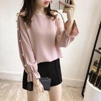 The New Spring 2017 Han Edition And Women Chiffon Blouse Shirt Long Sleeve Nail Bead Render