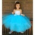 Aqua Blue Туту Платье Белый и Синий Детские Платья Для свадебные Девушки Пачки На день рождения Девочка Одежда vestido infantil menina