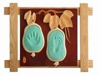 Hand Foot Print Photo Frame Newly Born Baby Foot Hand Print Cast Set Christening Fingerprints Inkpad