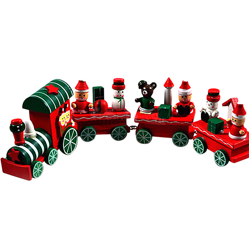 Sozzy 2018  4 Pieces Wood Christmas Xmas Train Decoration Decor Gift S#