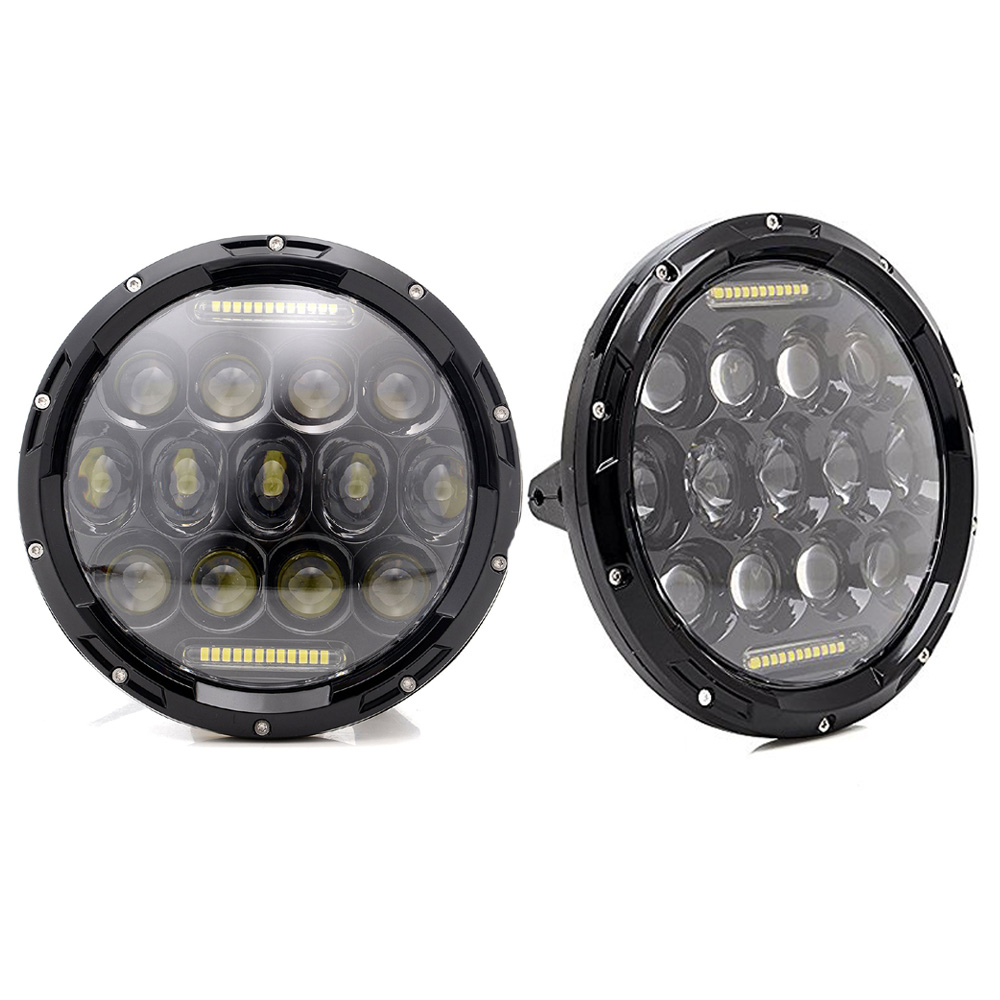 2pcs 7 75W LED Headlights With DRL Angel Eyes High Low Beam For Jeep Wrangler Trucks