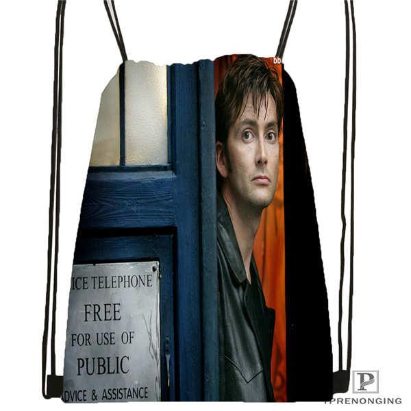 Custom David-Tennant-  Drawstring Backpack Bag Cute Daypack Kids Satchel (Black Back) 31x40cm#20180611-02-65