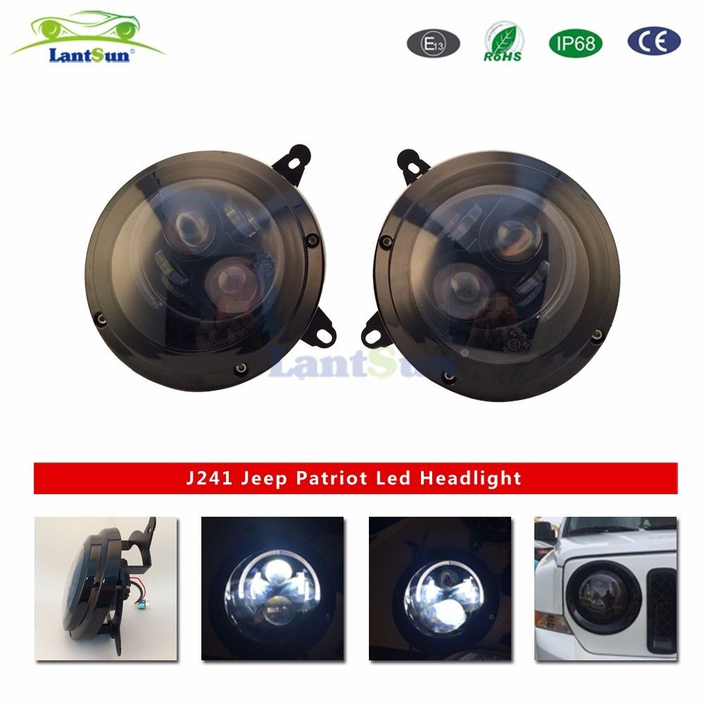 Pair J241 Lantsun 7 Inch 75W round DC10-30V Led halo projector Headlights With DRL Hi/lo Beam For Jeep patriot 13-15