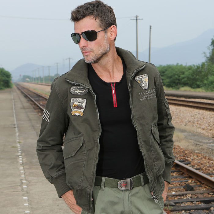 2016 Army Style Brand Clothing Military uniform Jacket Coat Mens Air Force Style Full Zi ...