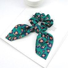 Fashion Girls Summer Leopard Scrunchie Rubber Bow Hair Rope Ring Elastic Hair Bands Hair Accessoiries for Women