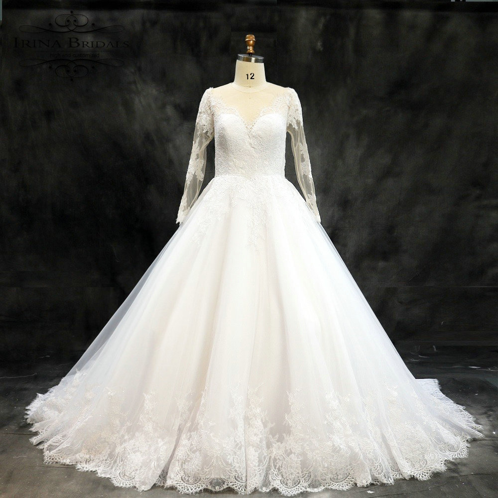 Vintage Wedding Dresses For Sale: Hot Sale Skin Color Illusion Back Lace Vintage Wedding