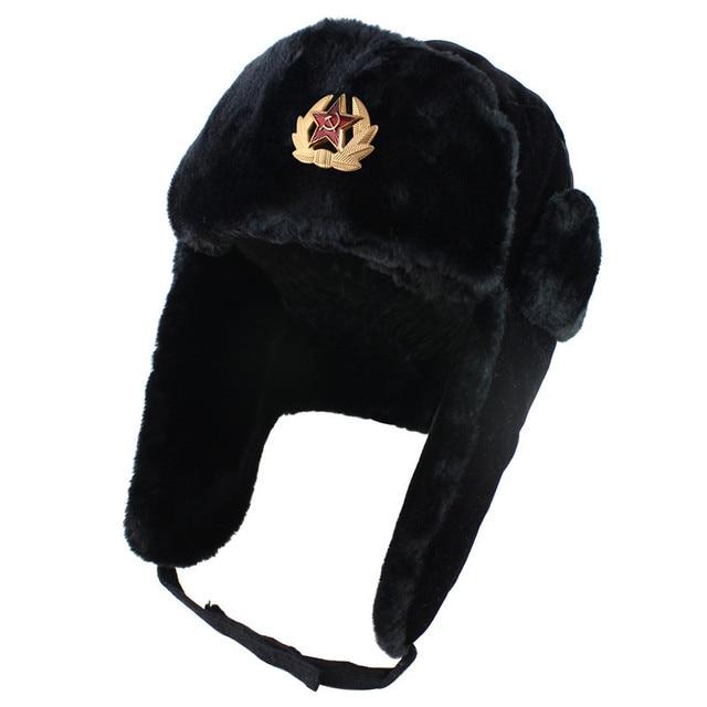 1706c6b91f8a6 Soviet Army Military Badge Russia Ushanka Bomber Hats Pilot Trapper Aviator Cap  Winter Faux Rabbit Fur