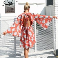 Simplee Backless Lace Up Print Chiffon Dress Women Flare Sleeve Elegant Midi Dress Streetwear Short Dress