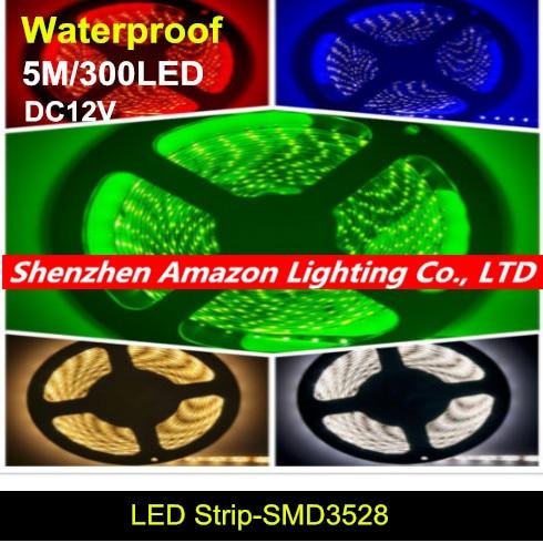Free shipping high brightness IP65 Waterproof 5M 3528 LED Strip Light 300 LED DC 12V LED tape ribbon