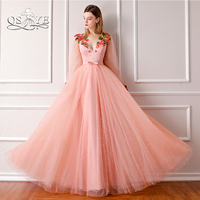 QSYYE 2018 New Arrival Vintage Pink Prom Dresses Sexy V Neck Pearls 3D Flower Long Sleeve Formal Evening Dress Party Gown