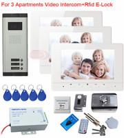 New Video Intercom For 3 Apartments Video Doorphone With Rfid Electronic Lock 7 Color Lcd Video