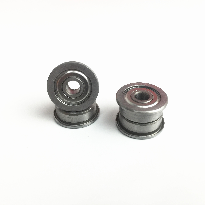 Metal Flanged Rubber Sealed Ball Bearing 5x11x4 mm MF115-2RS Black 10 PCS