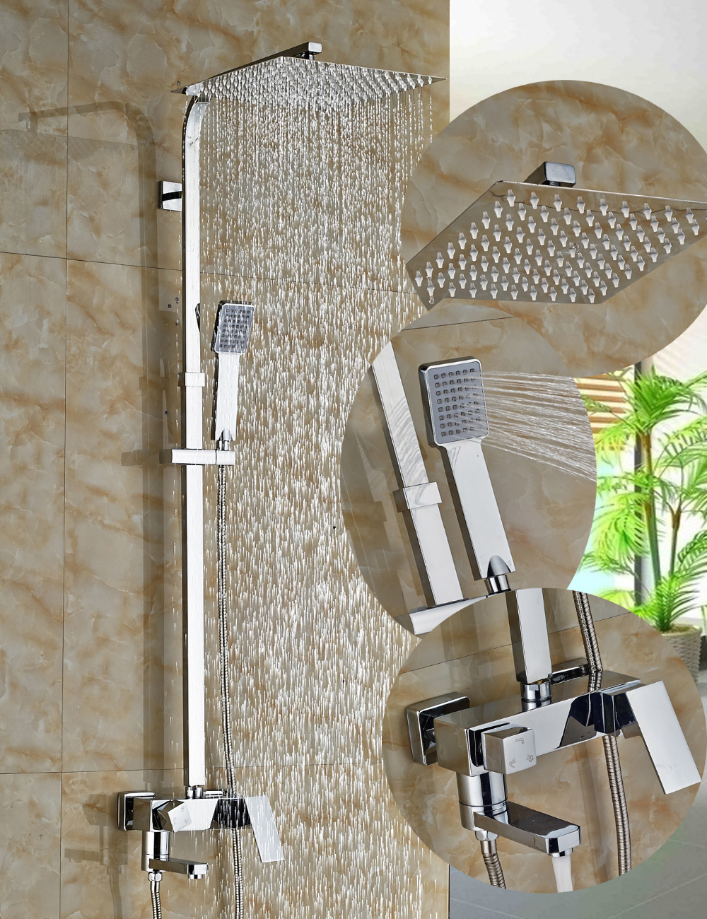 Wholesale And Retail Polished Chrome Square Shower Head Shower Mixer Tap Hot Cold Mixer Valve W/ Hand Shower Sprayer