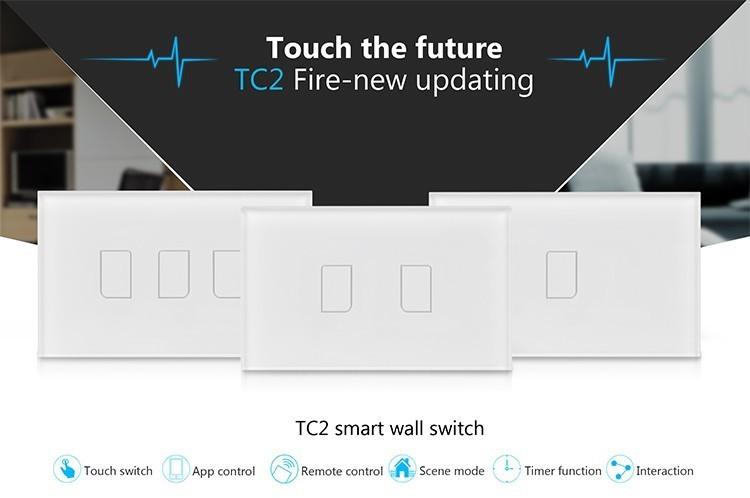 2018 Broadlink TC2 US/AU version 1 2 3 Gang WiFi Accueil automatisation Intelligente Télécommande Led Lumière Switche Tactile Panneau via RM Pro + 14