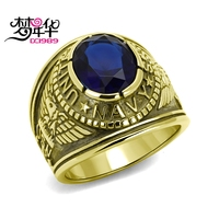 DreamCarnival 1989 US Navy Military Gothic Rings for Men Stainless Steel Antique Gold Color Anel Montana Blue Stone Anillos Moda