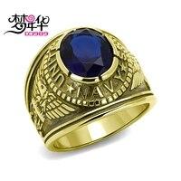 Dreamcarnival 1989 ВМС США Военное Дело Готический Кольца для Для мужчин Нержавеющая сталь Античное золото Цвет Анель Montana синий камень anillos Moda