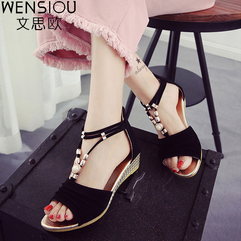 Women Wedges Sandals String Bead Gladiator Sandal Women Shoes Bohemia Lady Summer Beach Casual Shoes Female Elegant Shoes ABT716 casual bohemia women platform sandals fashion wedge gladiator sexy female sandals boho girls summer women shoes bt574