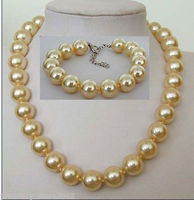 Hot sale new Style >>>>>beautiful 14 mm golden shell pearl necklace bracelet set
