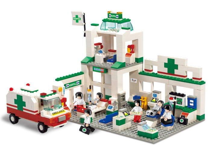727pcs sluban 2900 city series automotive service center educational model Sluban City Series Simulation City Hospitals Emergency Center Construction Plastic Model Building Block Bricks Set Toys Gifts