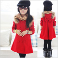 2016 Autumn And Winter Fashion Wool Coat Girl Dress Coat Long Design Kids Outerwear Red Child Slim Top Girls Overcoat