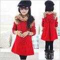 2016 Moda Outono E Inverno Casaco de Lã Casaco Vestido Da Menina Projeto Longo Outerwear Crianças Criança Vermelho Fino Top Meninas Casaco